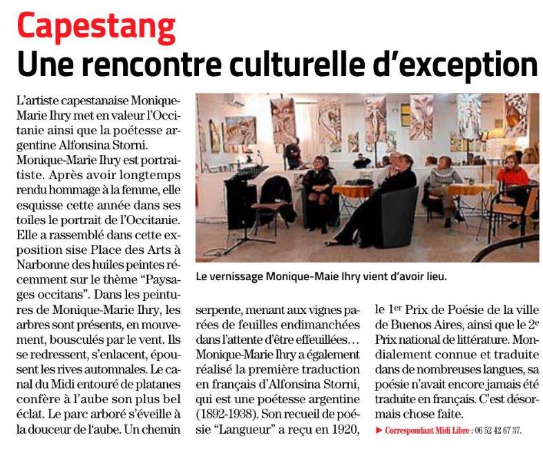 Article Midi Libre du 11 décembre 2019, Monique-Marie IHRY à l'honneur